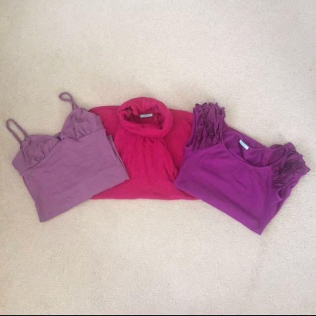 Kookai Tops 3x Bulk Purple Marino Wool & Cotton -Size 1