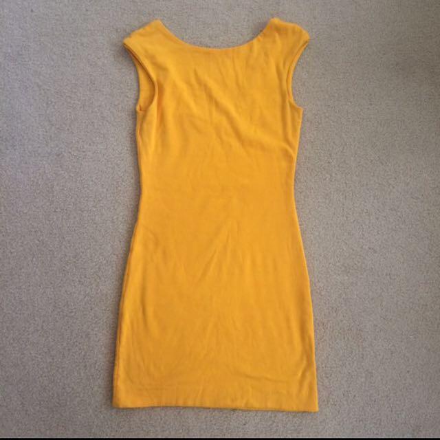 Kookai Yellow Cotton Low Back Dress - Size 1