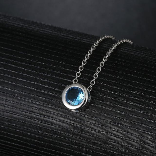 Light Blue Cubic Zircon Stone Round Pendant Necklace