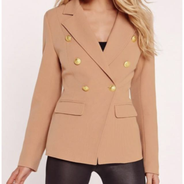 Misguided Military Blazer in Nude size 4 (36)