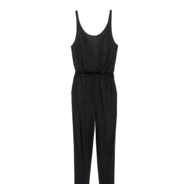 (NEW) H&M BASIC LONG JUMPSUIT BLACK