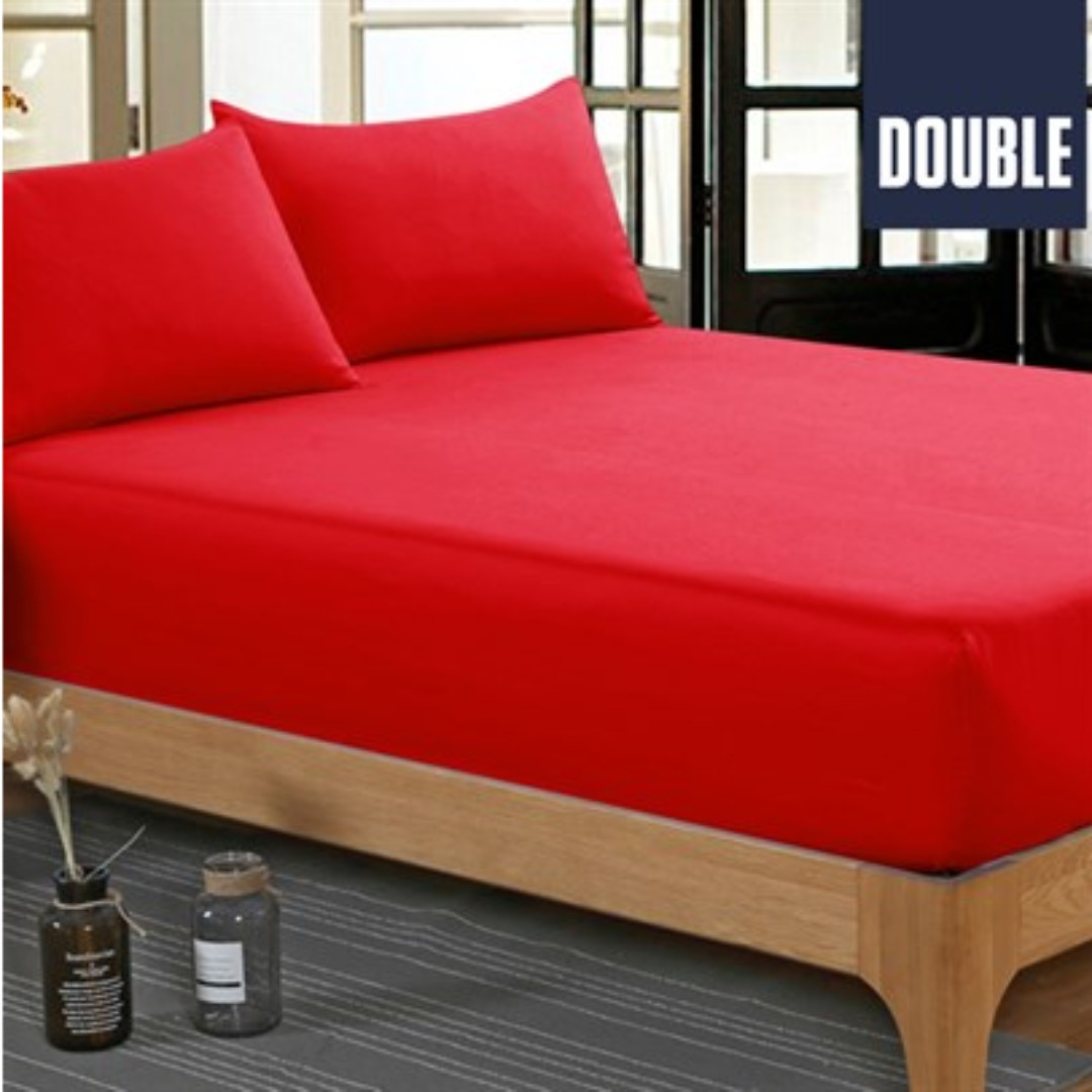 NEW Poly Cotton 3 Piece Bed Fitted Sheet & Pillowcase Red - Double