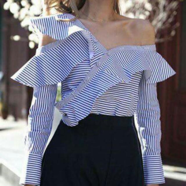One shoulder pinstripe blouse