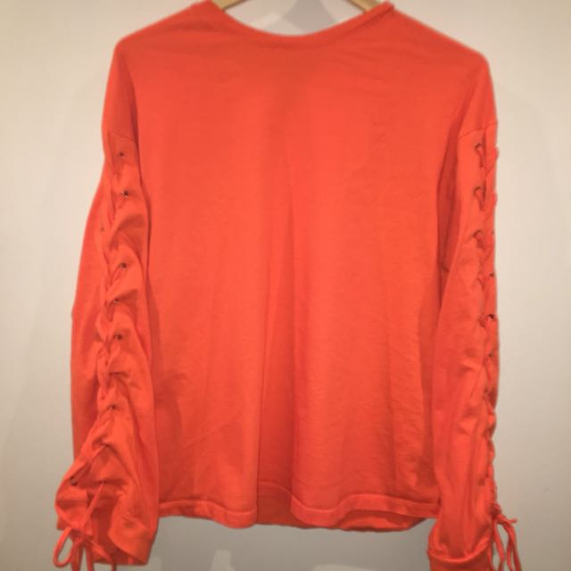 Orange tie up Long Sleeve