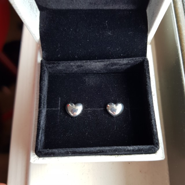 Pandora Silver Heart Stud Earrings