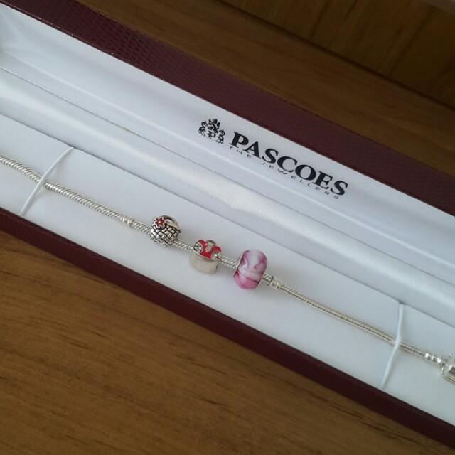 Pascoes charm bracelet & 3 charms
