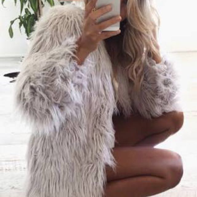 Portofino Grey Fluffy Jacket