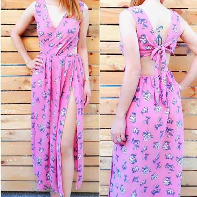 printed sexy back with slit maxxi dress