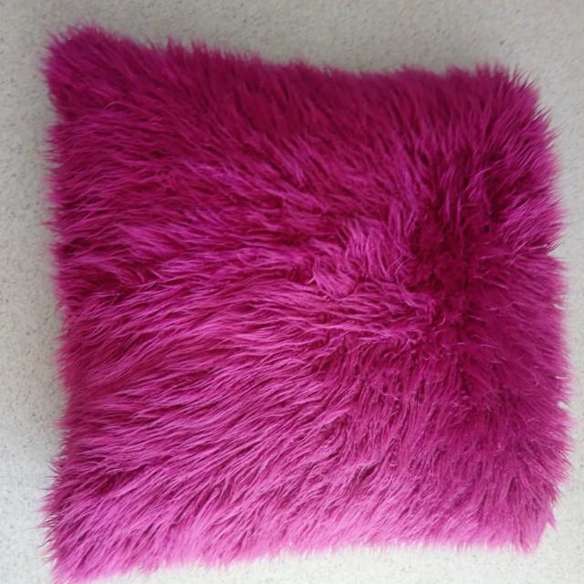 Purple fluffy cushion 63×63