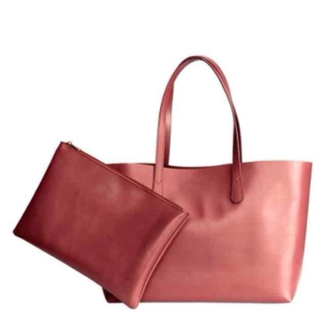Red H&M Shopper Bag with Clutch