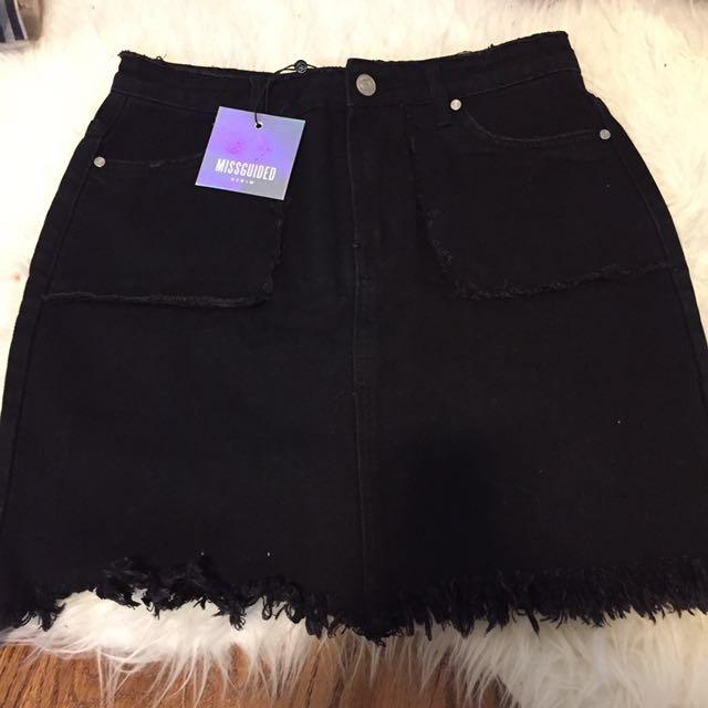 REDUCED Black Denim Skirt - Missguided