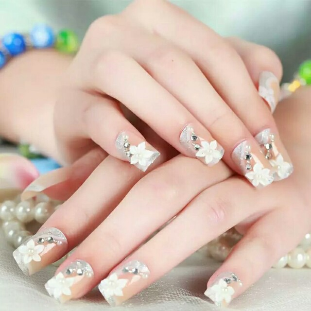 Rhinestones Crystal 3D Design 24 Pcs Set False Nails Acrylic