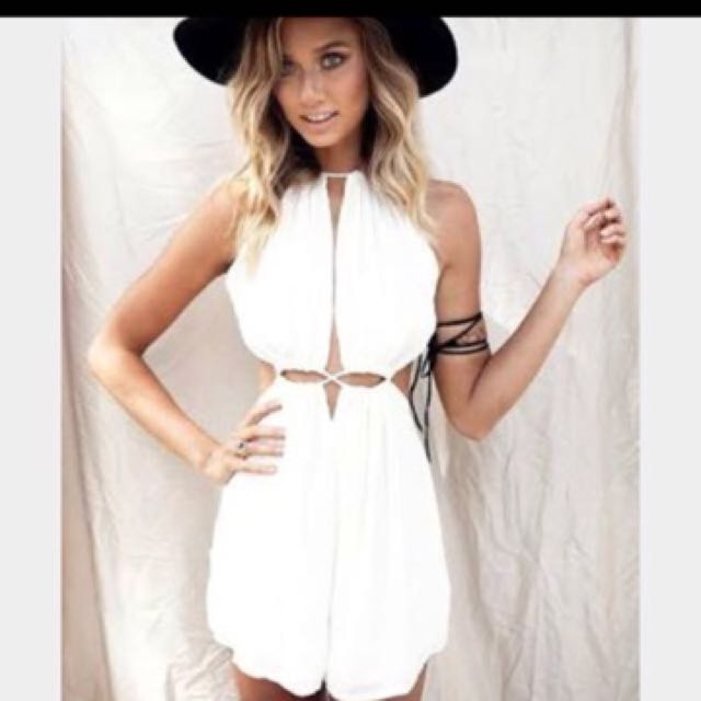 Sabo Skirt Boho White Linin Tie Rope Playsuit Jumpsuit
