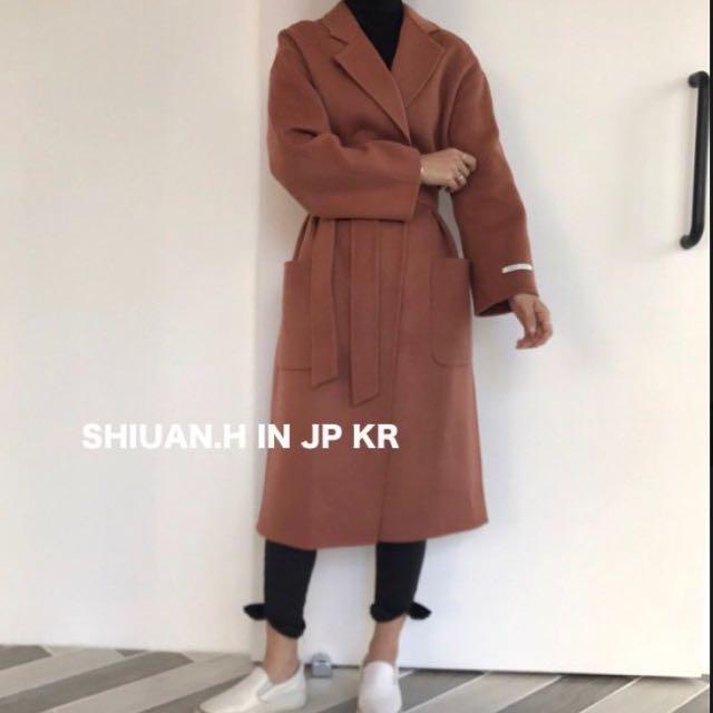 Shiuan H. in KR 2017 11月韓國帶回秋冬新款慵懒西裝綁帶羊毛呢外套寬鬆中長款大衣
