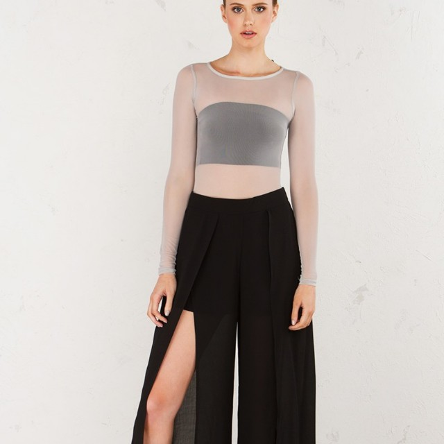 Slitted pant wide leg