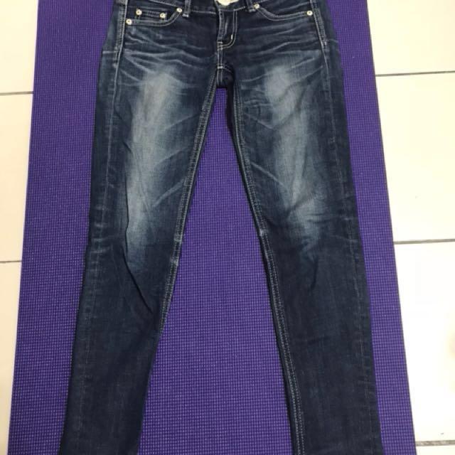 Sly jeans 深藍刷色窄管牛仔褲 修身翹臀 日牌moussy size 25#兩百元丹寧#我的女裝可超取