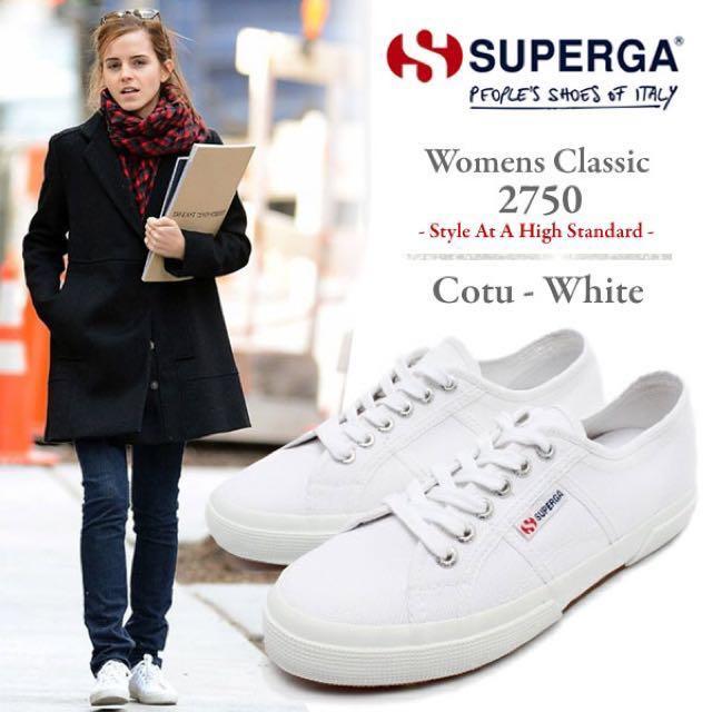 Superga White BNIB, Women's Fashion