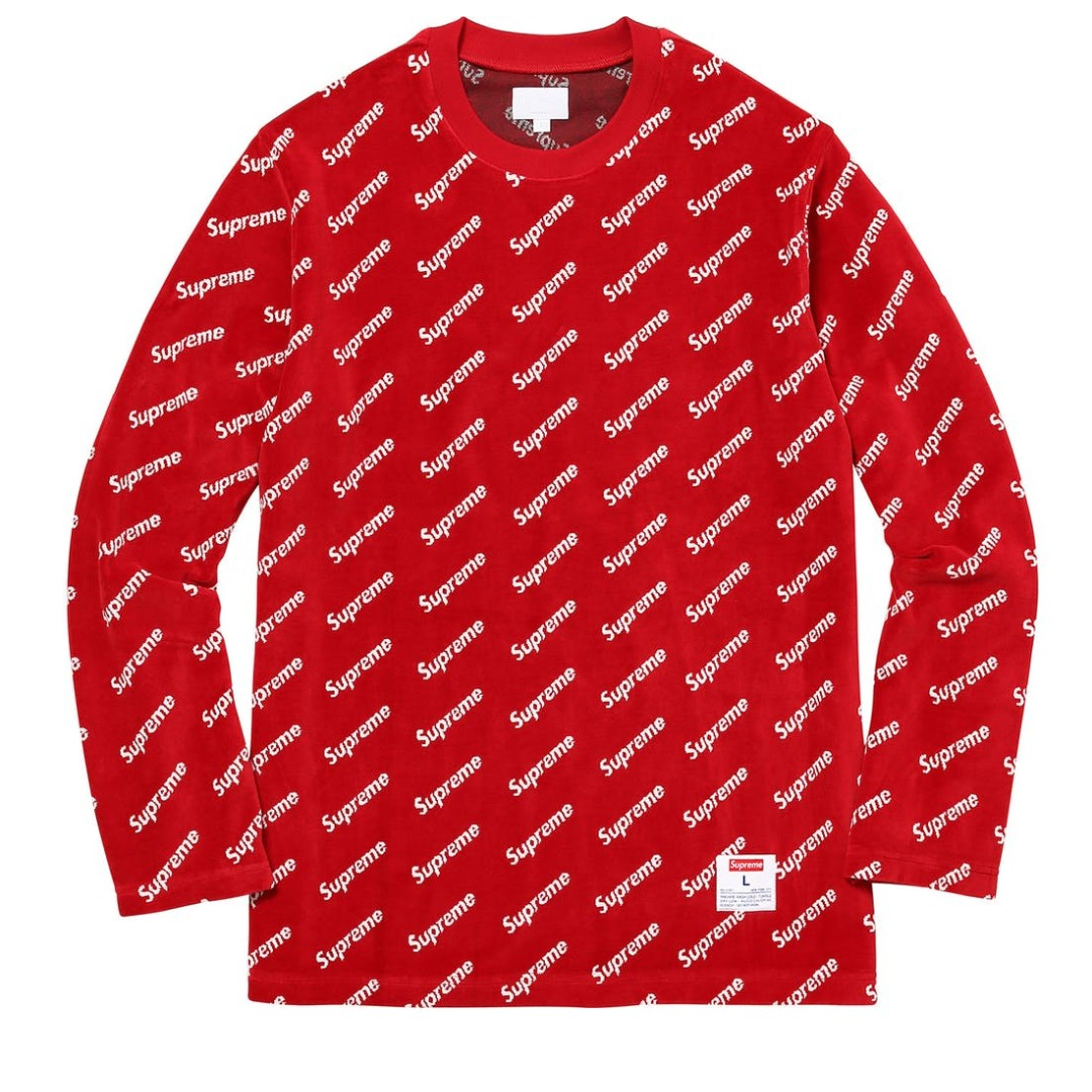 Supreme Velour Diagonal Logo L/S Top 滿版LOGO 長TEE 紅XL