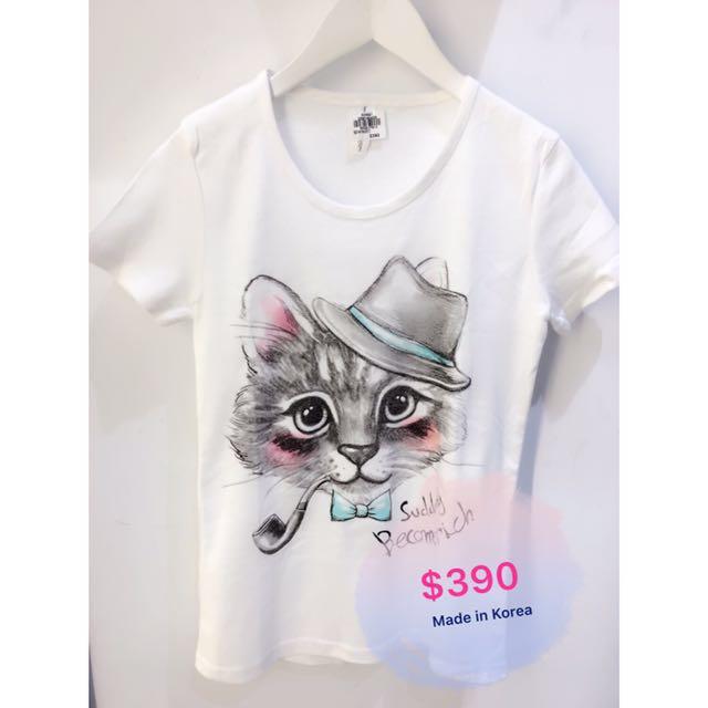 韓國連線可愛貓咪棉短T
