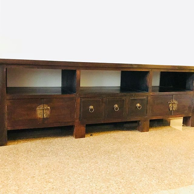 Teak Wood Tv Cabinet Furniture Shelves Drawers On Carousell