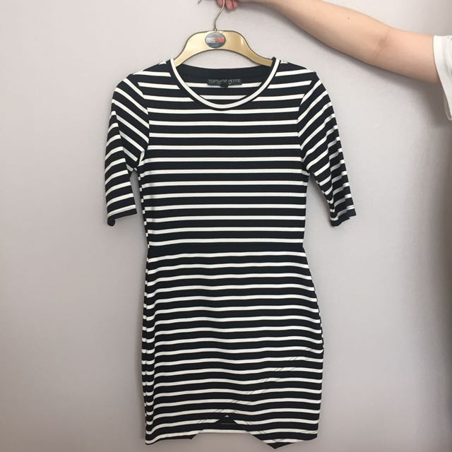 TOPSHOP Black And White Striped Tight Mini Dress