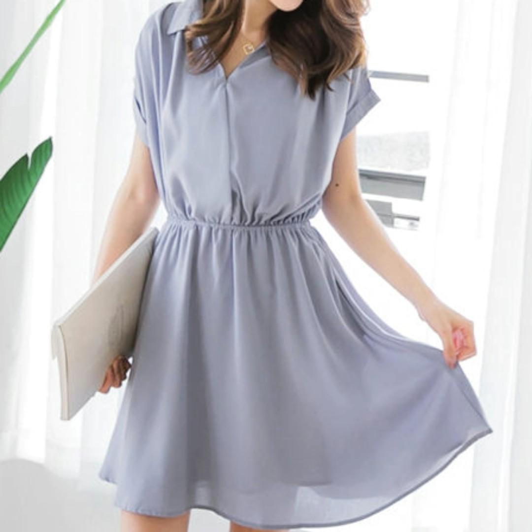 素色V領半開襟腰圍鬆緊反褶連袖洋裝