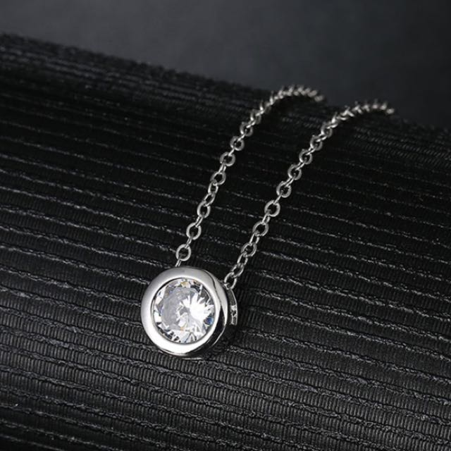 White Cubic Zircon Stone Round Pendant Necklace