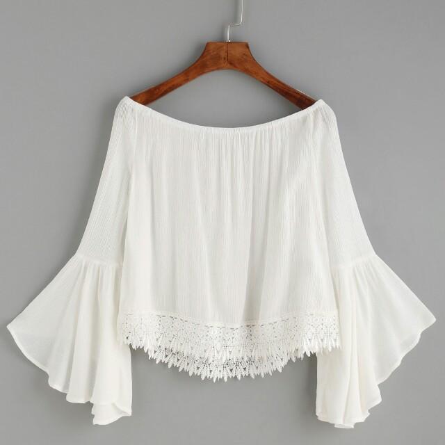 7ba952ba5c White lace up Off Shoulder Top
