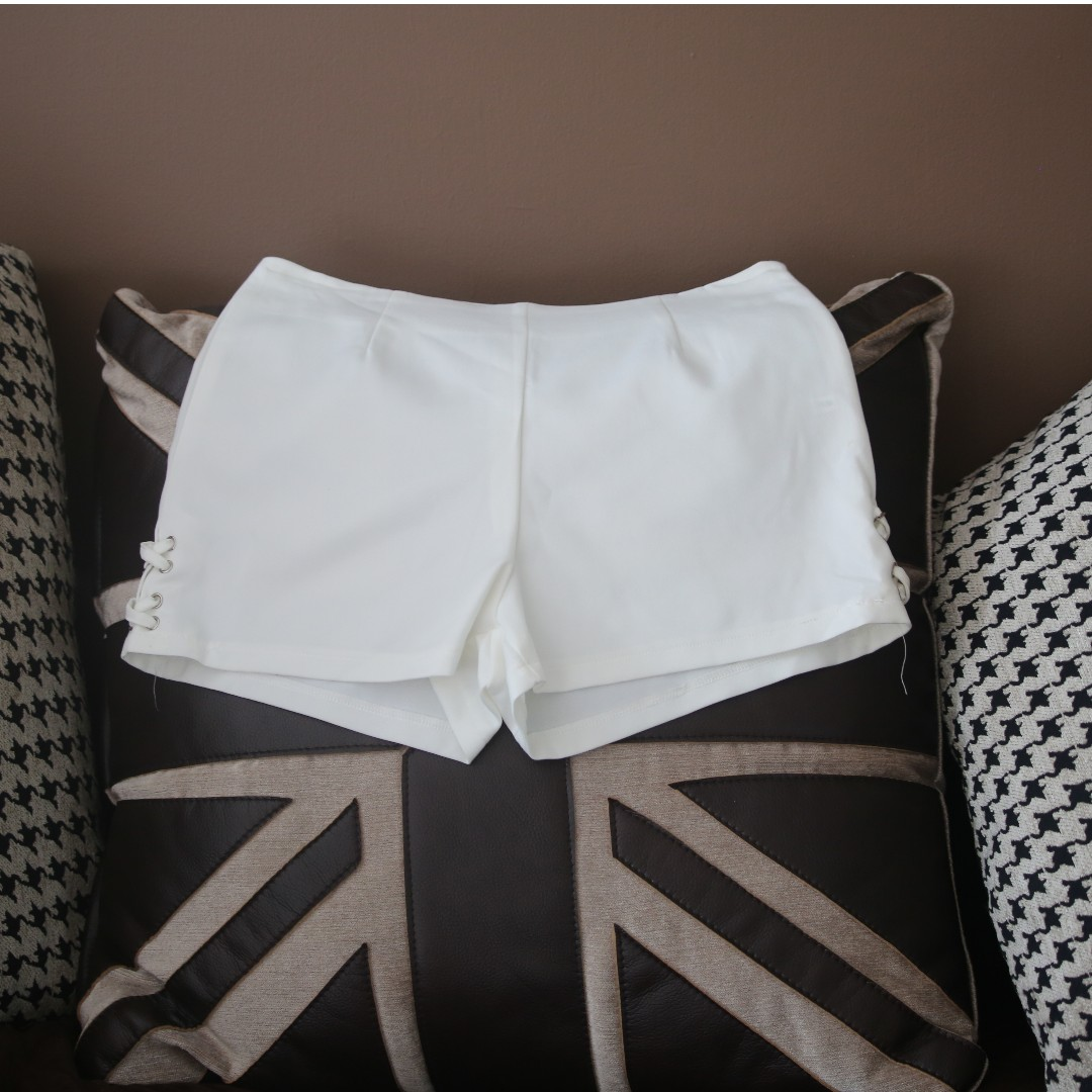 White Lace up Side Shorts