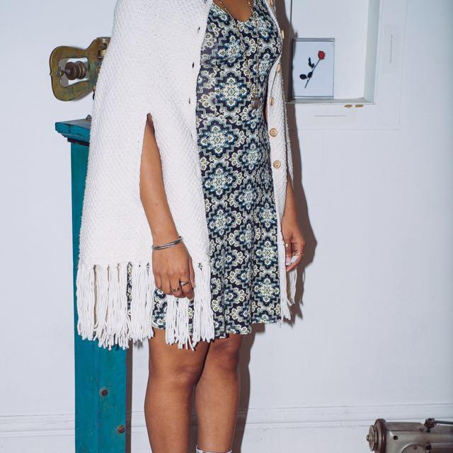 Women's wool poncho