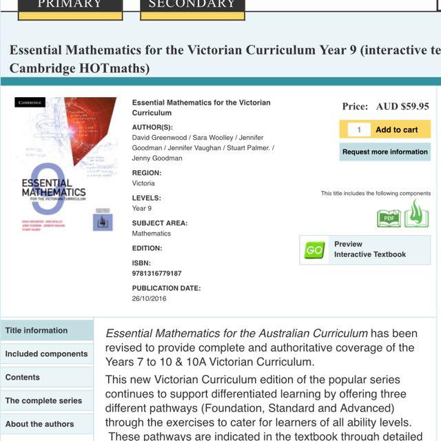 Year 9 Cambridge Maths textbook