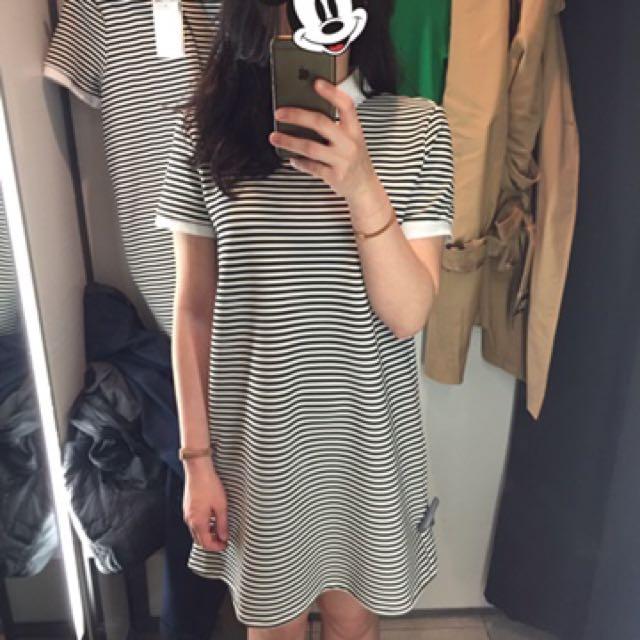 ZARA黑白條紋洋裝