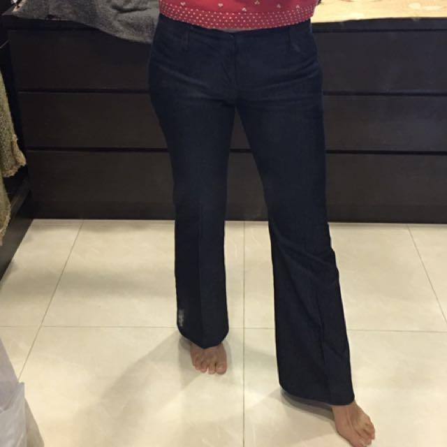 Zara深藍低腰牛仔褲