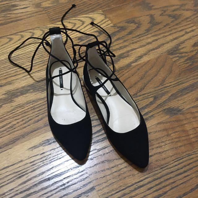 Zara尖頭綁帶平底鞋 #含運最划算