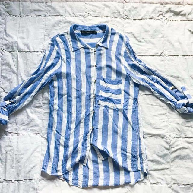 Zara button down blue stripes linen fabric #flymetoSG