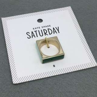 Kate Spade Saturday New York Sample Ring 綠色配金色方形指環戒指Size US 8號 (直徑1.9 cm)