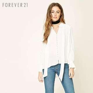 F21 button up white shirt