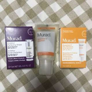 Murad cleanser + day moisture spf 30 + invisiblur perfect shield