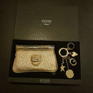 *NEW* Guess Authentic Gold Wristlet / Clutch with Charm