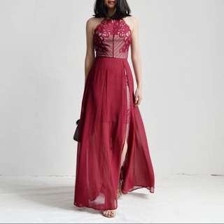 eyelashes lace narrow shoulders Slim chiffon dress even dress
