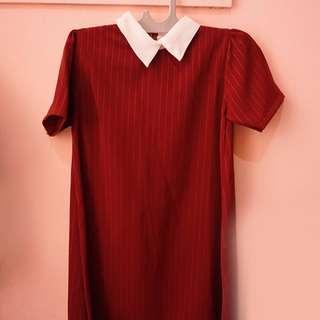 Maroon COLLAR DRESS - CUTE!
