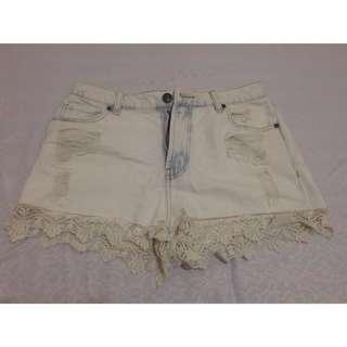 Boho/Bohemian denim shorts