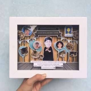 CUSTOM GIFT pop up frame (kado wisuda, ulg tahun, wedding, anniversary, perpisahan, dll)