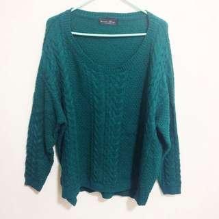 🚚 孔雀綠麻花編織毛衣