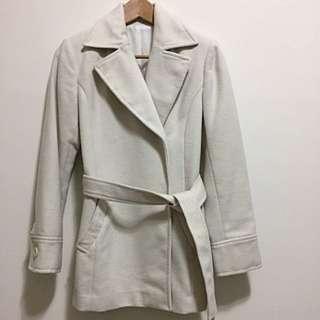 🚚 白色厚毛呢英國風外套(日本製)