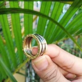 14k two tone gold bulgari bvlgari b zero ring