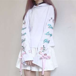 Korean Fashion White Top With Hoodie And Embroidered Ribbon Sleeves