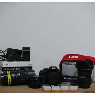 Canon 550D + 50mm 1.8 II + 4 Batteries | Opt: Sigma 18-35mm 1.8 + Tokina 11-16 2.8