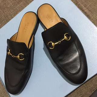 Gucci Princetown Black Leather Mules Size 7