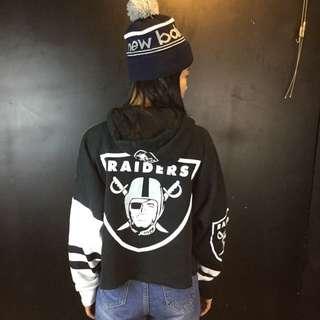 第二件六折*新品NFL Raiders突襲者隊短版刷毛帽T